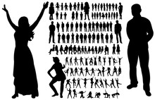 Vector, Isolated, A Collection Of Silhouettes People Dancing, People Silhouettes