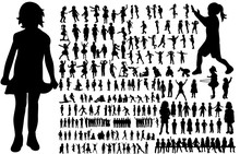 Vector, Isolated, A Collection Of Silhouettes Of Children, Childhood, Play