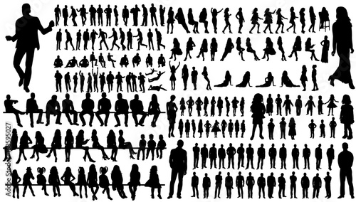 Fototapeta isolated, a collection of silhouettes of people men and women obraz