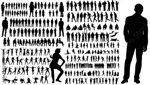 Obraz  collection of silhouettes of people men and women - fototapety do salonu