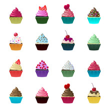 Set Of Cute Cupcakes And Muffi...
