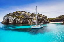 Beautiful Bay With Sailing Boats, Mediterranean Sea. Menorca Island, Spain