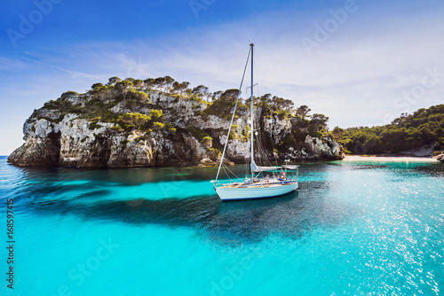 Beautiful bay with sailing boats, Mediterranean sea