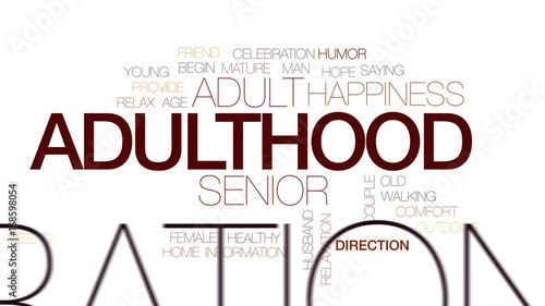 Adulthood animated word cloud, text design animation Canvas-taulu