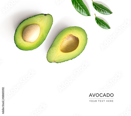 Valokuva Creative layout made of avocado and leaves
