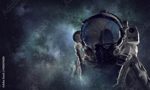 Poster UFO Spaceman in astronaut suit. Mixed media