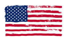 Grunge American Flag. Watercolor Flag Of USA. Vector Illustration. Isolated On White Background