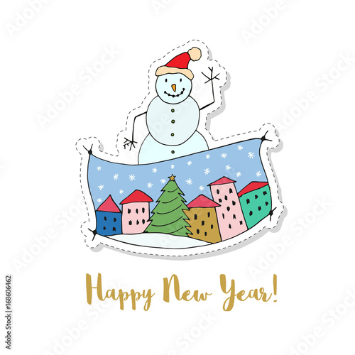 Merry Christmas and a Happy New Year cartoon vector card. Sticker ...