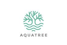 Green Tree Water Logo Linear. ...