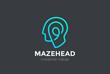 Head Logo abstract vector Linear. Think Brainstorm ideas icon