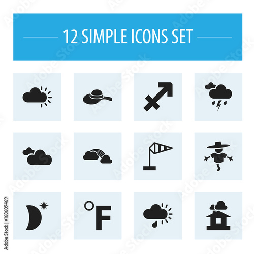 Set Of 12 Editable Weather Icons Includes Symbols Such As Clouded