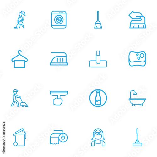 Fotografie, Obraz  Set Of 16 Editable Hygiene Outline Icons