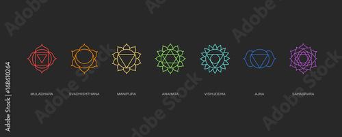 Leinwand Poster Chakras energy healing, sacred geometry vector