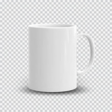 Realistic White Cup Isolated O...