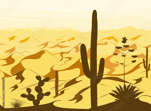 seamless-pattern-with-desert-landscape-and-cacti-silhouettes-in-vector