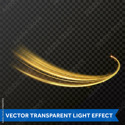 Light line gold swirl effect. Magic sparkle swirl trail effect on transparent background. Bokeh light glitter round wave line with sparkling particles. Vector glitter light fire flare trace Wall mural