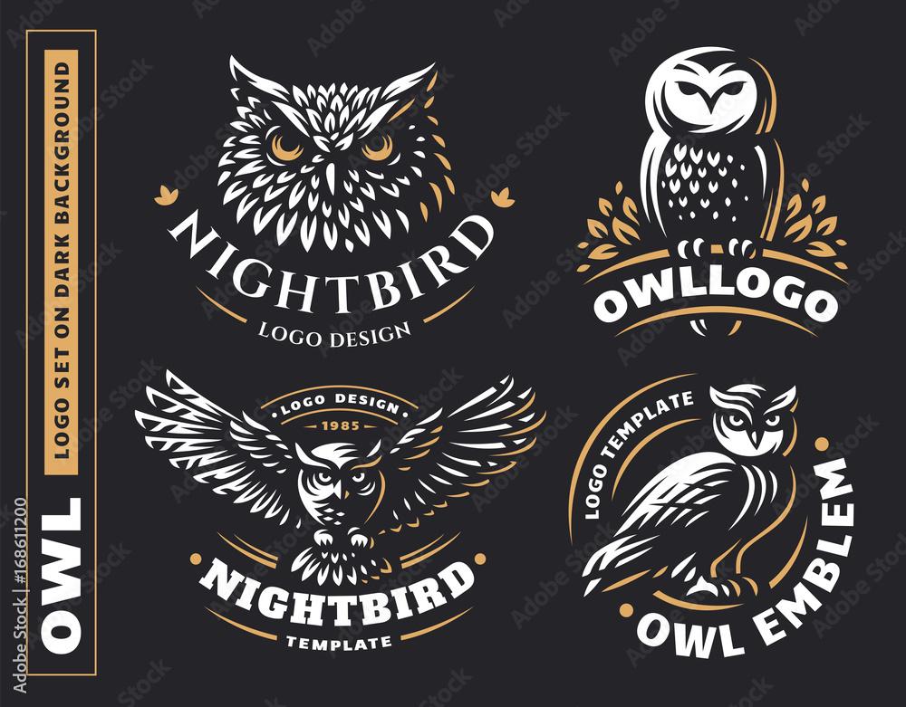 Fototapety, obrazy: Owl logo set- vector illustrations. Emblem design on black background