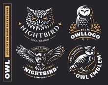 Owl Logo Set- Vector Illustrat...