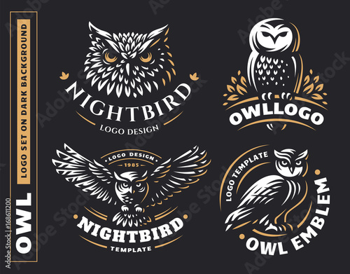 Photo Stands Owls cartoon Owl logo set- vector illustrations. Emblem design on black background