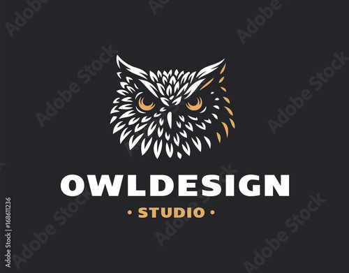 Poster Uilen cartoon Owl head logo- vector illustration. Emblem design on black background