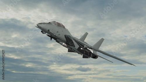 Obraz na płótnie uzbrojony myśliwca wojskowego w locie na tle nieba