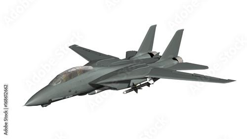 Fototapeta uzbrojony myśliwca wojskowego w locie na białym tle
