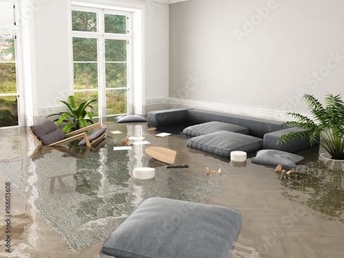 Fotografía flood in brand new apartment. 3d rendering