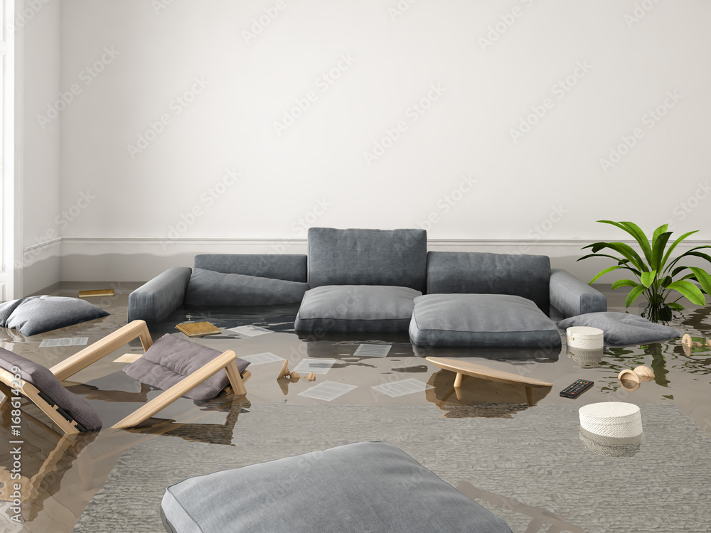Fototapety, obrazy: flood in brand new apartment. 3d rendering