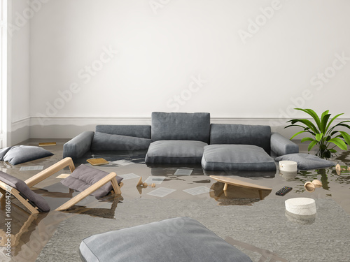 Fototapeta flood in brand new apartment. 3d rendering