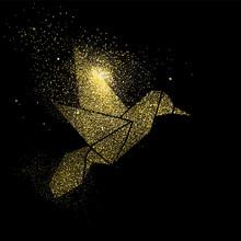 Bird Gold Glitter Art Concept ...