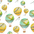 Seamless pattern of balloons with baskets painted in watercolor