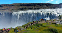 Dettifoss Waterfall With Hikers At Overlook - Iceland