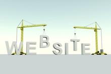 Website Building Concept Crane White Background 3d Illustration