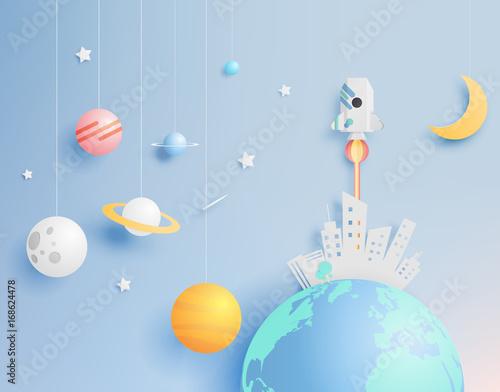 papierowy-rakiety-i-ukladu-slonecznego-papierowa-sztuka-z-pastelowym-brzmienia