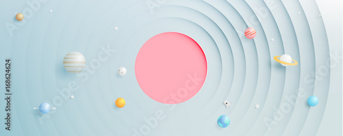 Solar system paper art style background