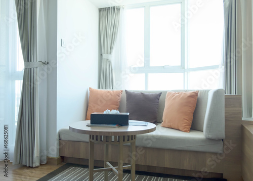 Corner Sofa Set With Three Pillows In Modern Style Sunny Day