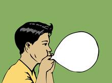 Boy Blow Up Balloon-vector Illustration