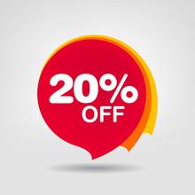20% OFF Discount Sticker. Sale...