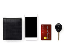 Mobile Phone And Credit Card, Key And Wallet Isolated On White Background.