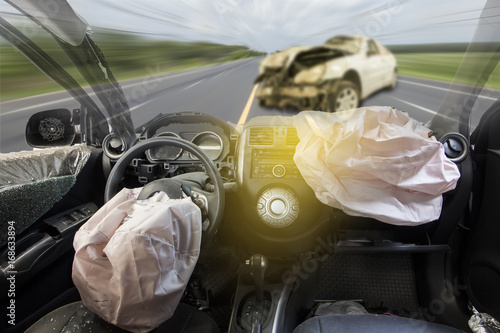 Photo Car of accident make airbag explosion damaged.