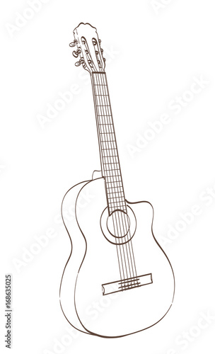 Classical Cutaway Guitar Outlines Drawing Vector Illustration Buy