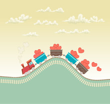Cartoon Train With Hearts Conceptual Illustration On Love Or Romantic Theme With Retro Colors. Vector