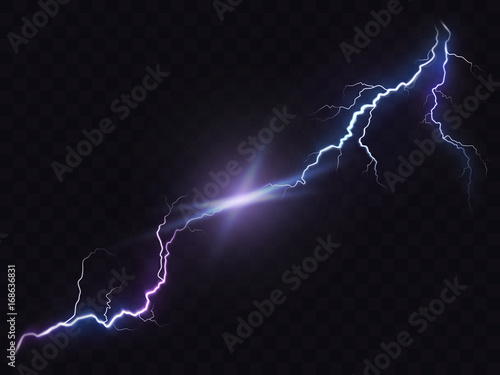Photo Vector illustration of a realistic style of bright glowing lightning isolated on a dark translucent background, natural light effect