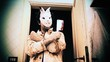 A crazy man with a big knife, wearing a scary bunny mask, enters a bathroom and gets hit by a bullet, falls down.