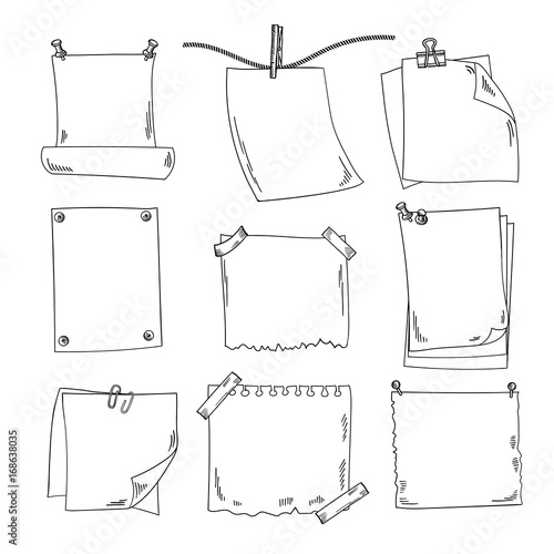 Fotografie, Obraz  Sketch papers and different notepapers vector set in hand drawn style