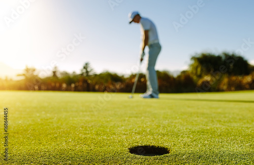 Poster Golf Golf player putting ball in hole