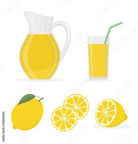 Fototapeta Lemonade set on white background. Flat style vector illustration.   obraz