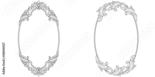 Fototapeta Set of oval vintage border frame engraving with retro ornament pattern in antique baroque style decorative design. Vector obraz