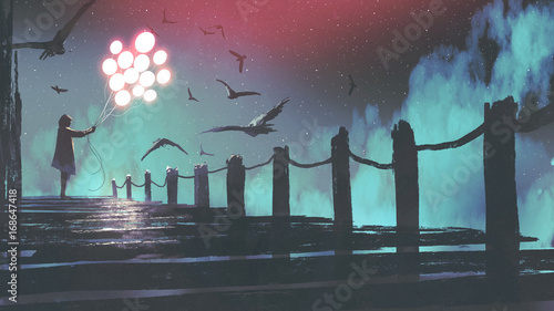 mysterious woman in cloak holding glowing balloon standing among crows on the bridge, digital art style, illustration painting