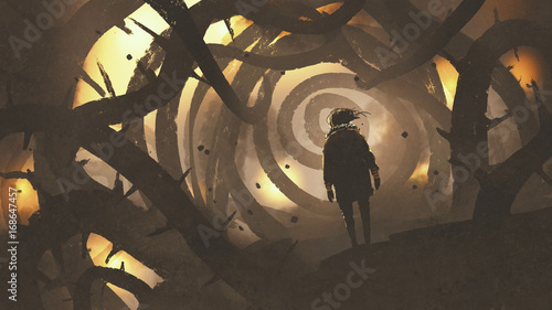 Fotomural man walking in mystery forest with thorny tree, digital art style, illustration